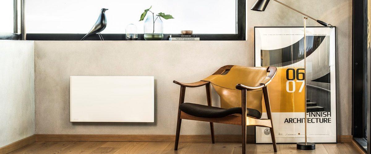 Bilde av lesekrok med gulvbelysning og panelovn